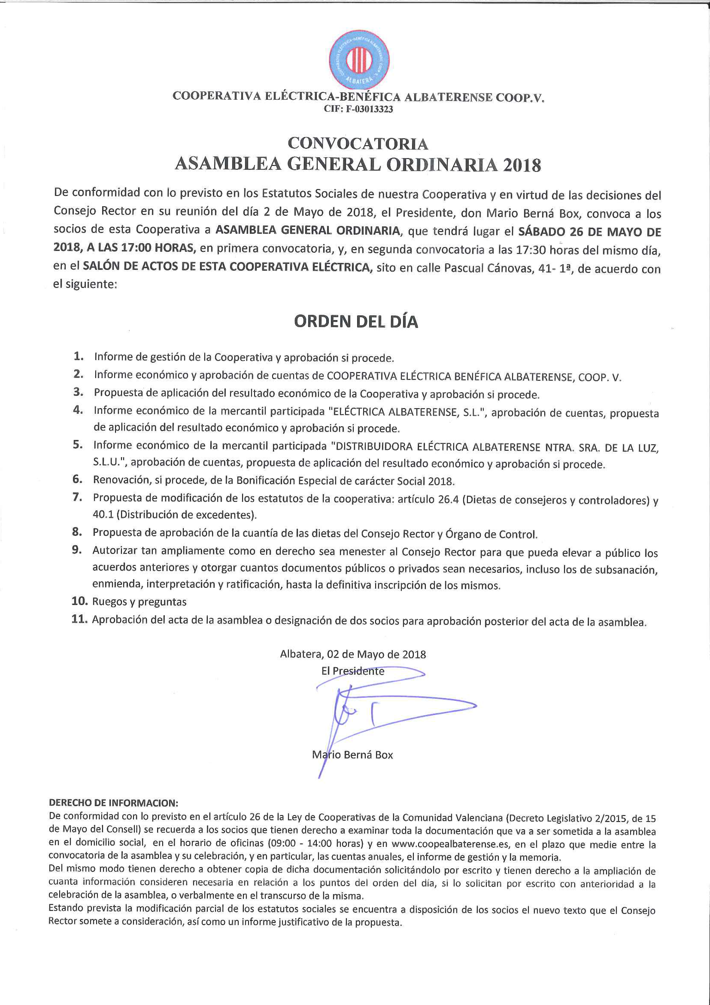 Convocatoria Asamblea Cooperativa mayo 2018