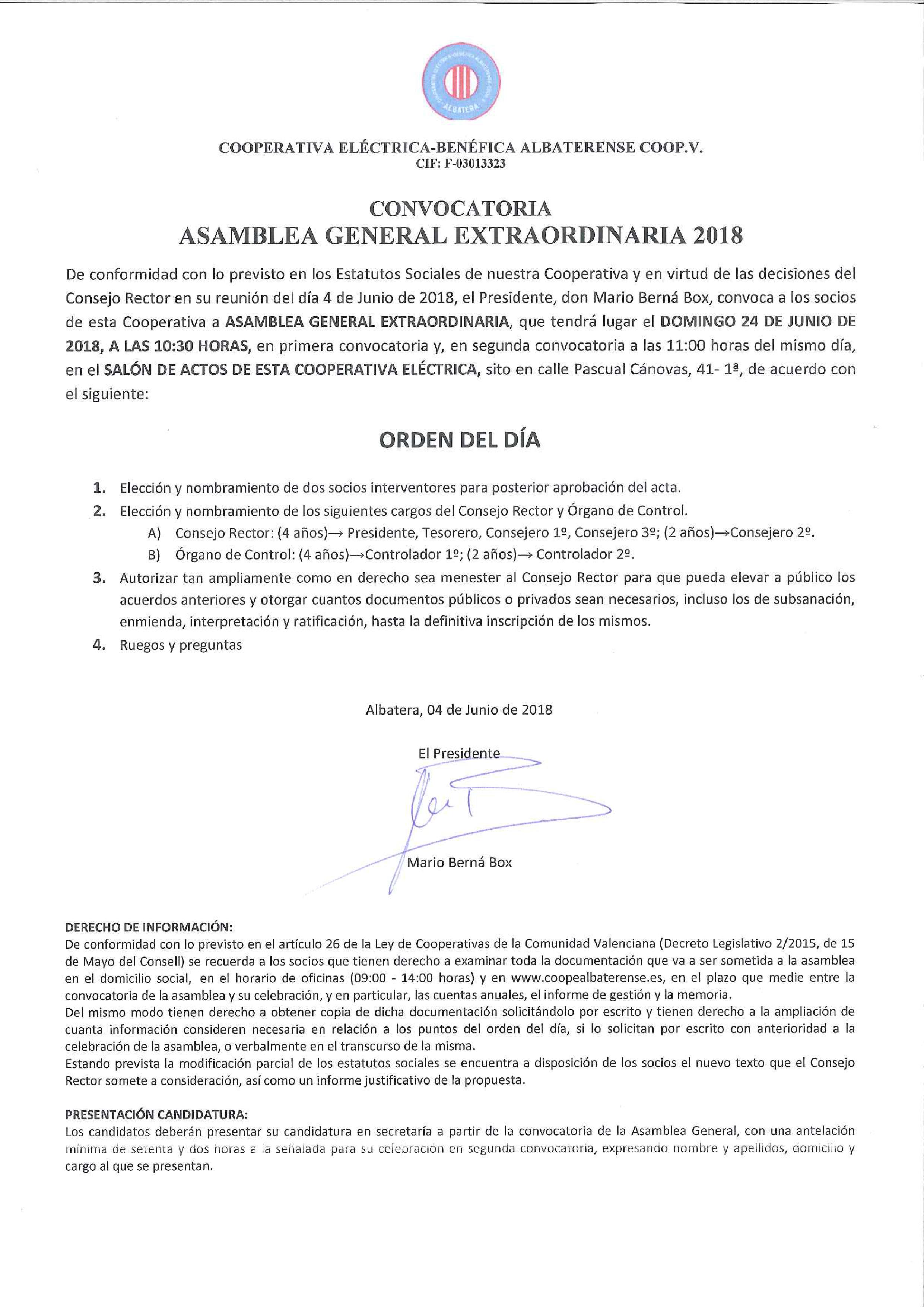 Asamblea General Extraordinaria Coope 24 junio 2018